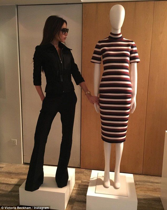'I'm wearing VVB...what are you wearing?': Victoria Beckham once again proved that she's not afraid to crack a joke, as she did her best mannequin impression in a photo uploaded to her Instagram account on Thursday