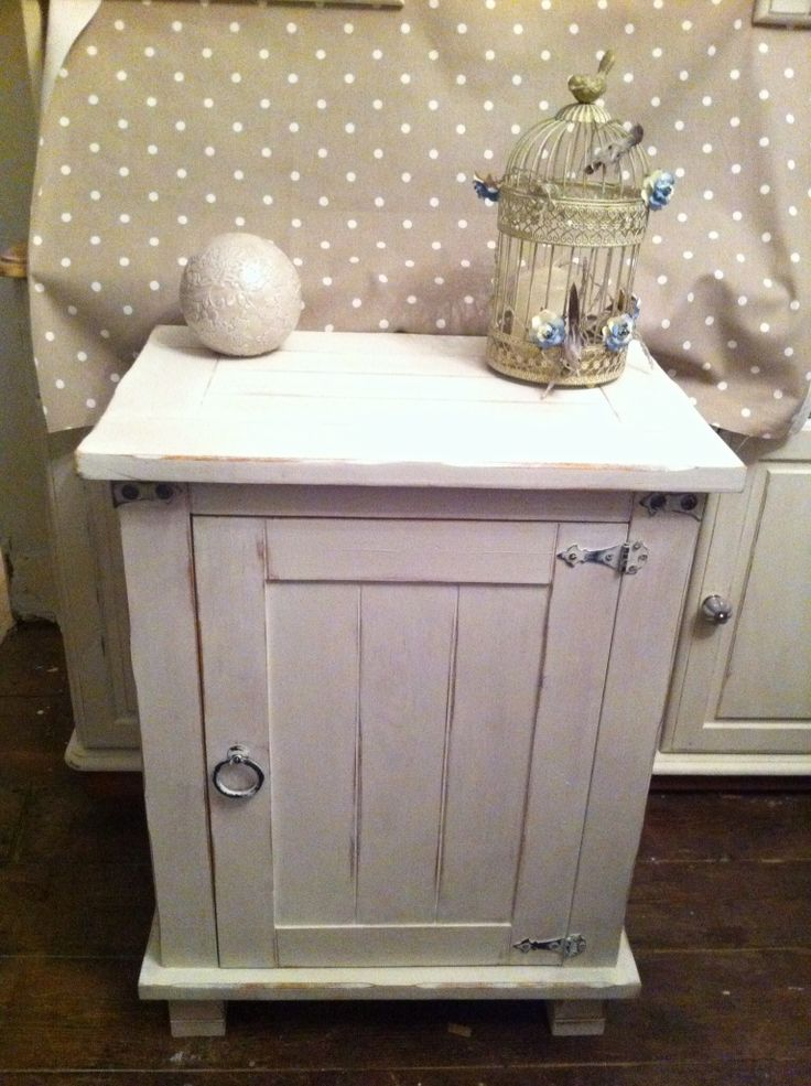 Shabby chic cabinet painted in Annie Sloan old white country style www.facebook.com/VintageChicHomeShabbyChicFurniture