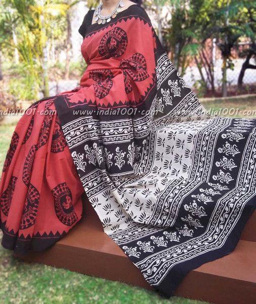 Elegant Mul Cotton Saree with Hand Block Print