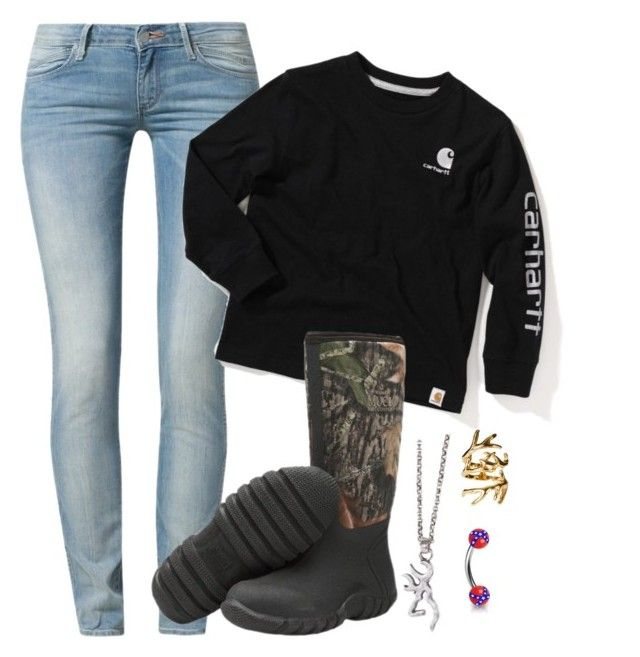 """Outfit of the day."" by backwoods-princess ❤ liked on Polyvore featuring Wrangler, Muck Boot and House of Harlow 1960"