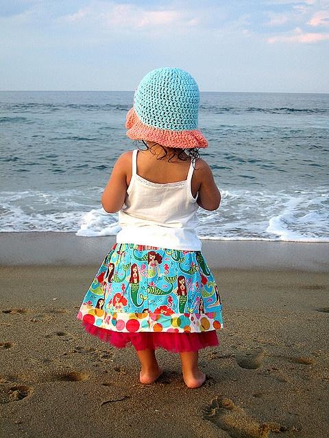 sweet!   ...beach babe in mermaid skirt.