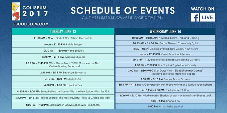 E3 Live Stream Events/Panels Schedule [Image] #Playstation4 #PS4 #Sony #videogames #playstation #gamer #games #gaming