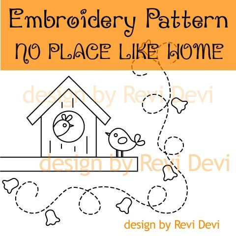 No Place Like Home 15051 - Cute Embroidery Pattern - PDF - Whimsical design for home decor