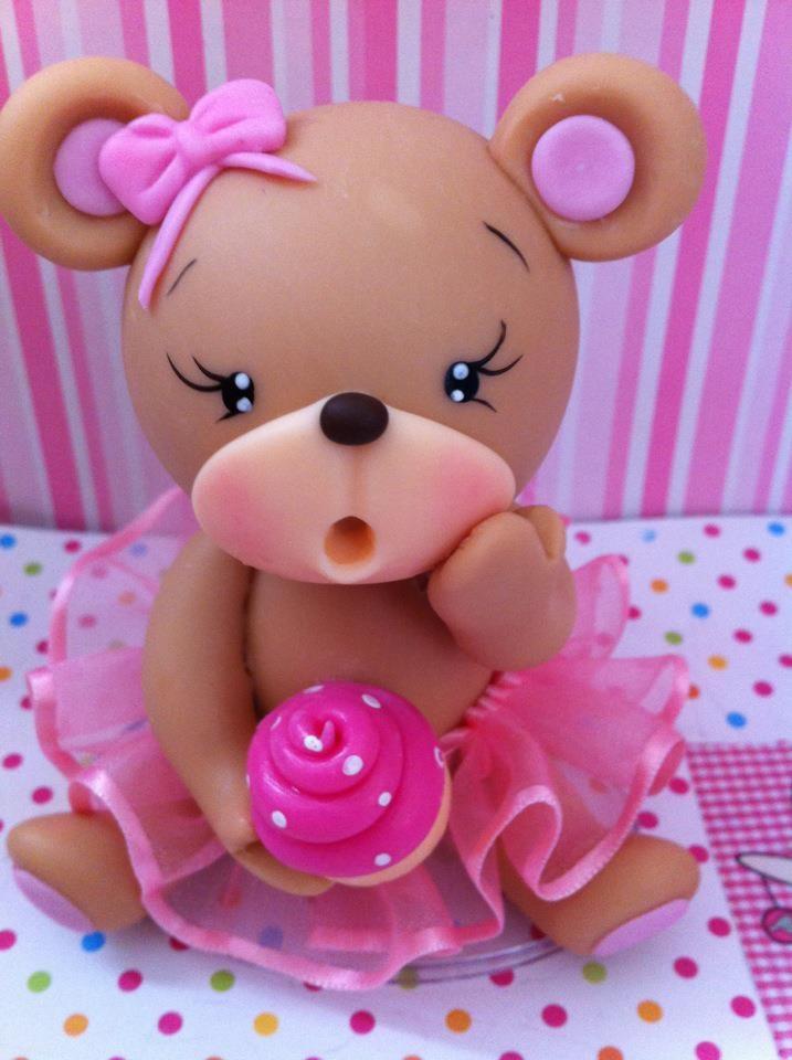 Figurine ourson rose pour bapteme - communion