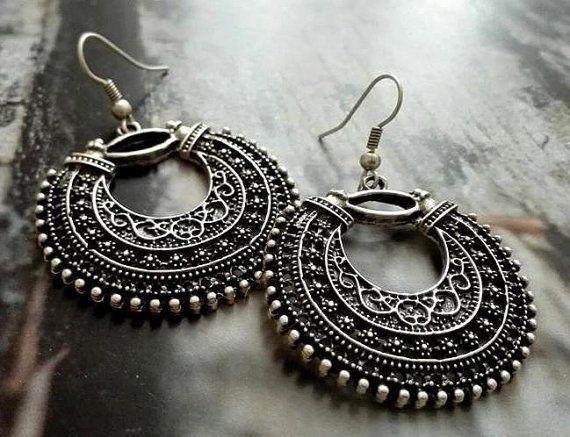 Tribal silver plated earrings ethnic earrings by ASearringsdesign