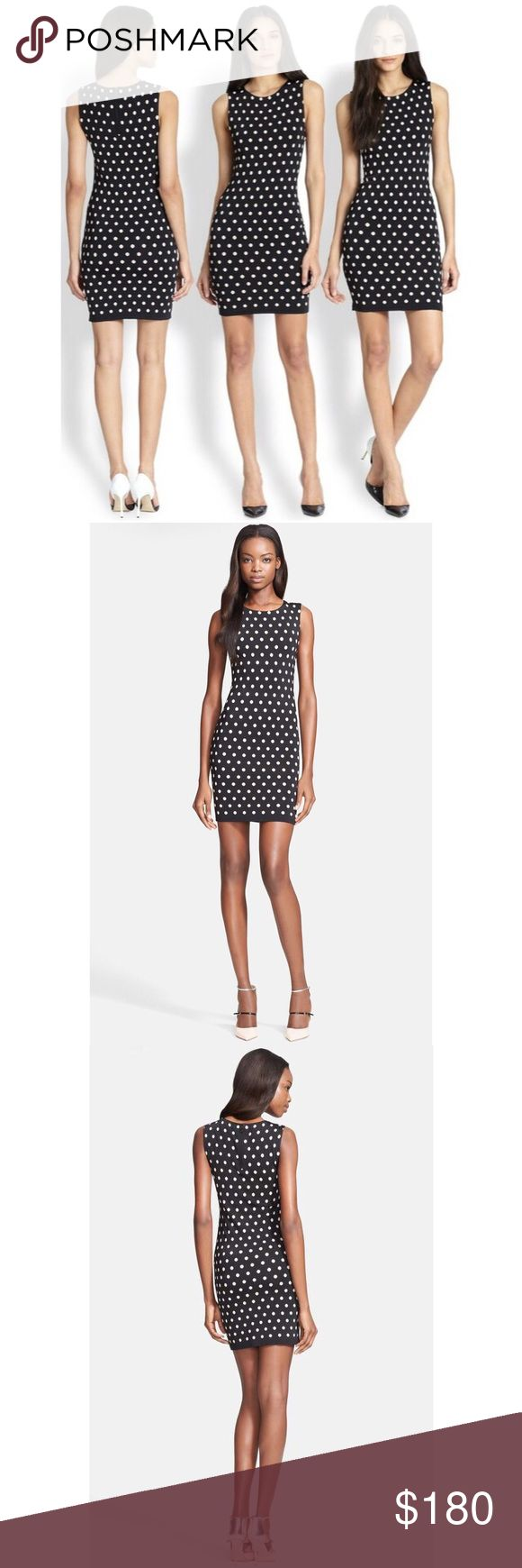 """NWOT Alice + Olivia Marta Polka Dot Bodycon Dress A slinky, curve-contouring fit is offset by playful polka dots on a sleeveless knit dress that's equal parts sugar and spice.  34"""" length (size Medium). 85% rayon, 13% polyamide, 2% spandex. Material is thick to give a smooth and flattering fit.  By Alice + Olivia; Never worn! Alice + Olivia Dresses Mini"""