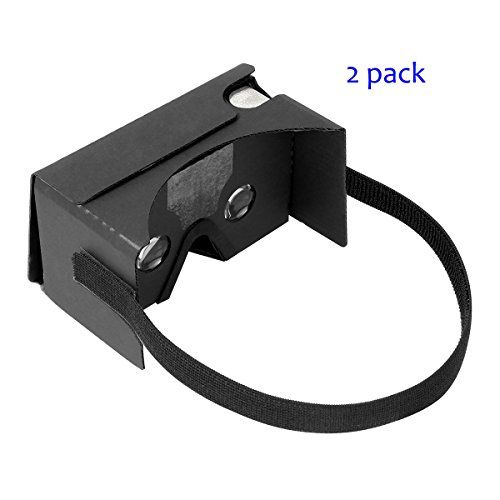Google Cardboard V2 by IHUAQI with Headstrap 2 Pack Fully Assembled Compatible with Android and iPhone Up to 6inch including Comfortable Nose Foam and Forehead Pad Black
