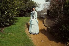 My 1885 bustle dress in Hyde Park.