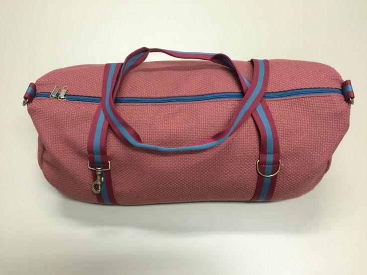 mod.22 - dark pink bag - burgundy/blue/burgundy stripes