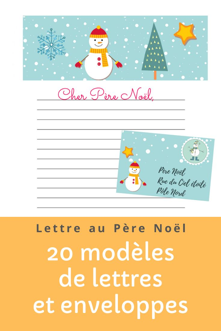 20 modèles de lettres au Père Noël à imprimer : enveloppes et papiers à lettres   Lettre pere ...
