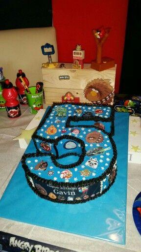 Birthday cake angrybirds star wars number 5