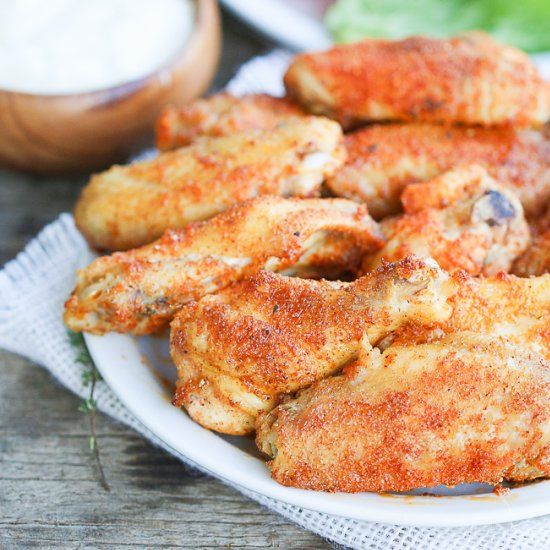 Alton Brown's Method of Achieving Crispy Chicken Wings in the oven. You won't believed they are baked.