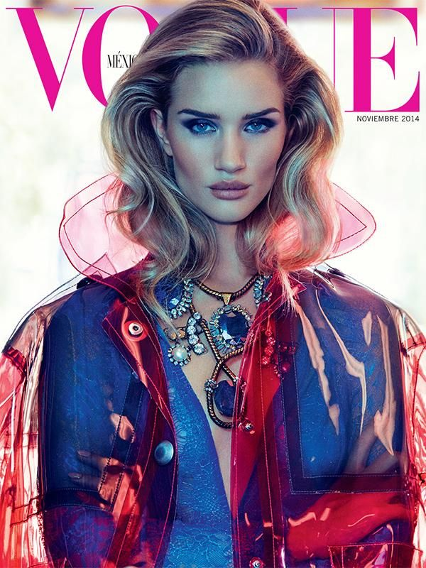 Rosie Huntington Whiteley Rocks Versace Pantsuit for Vogue Mexico November 2014 Cover #vogue #fashion #cover