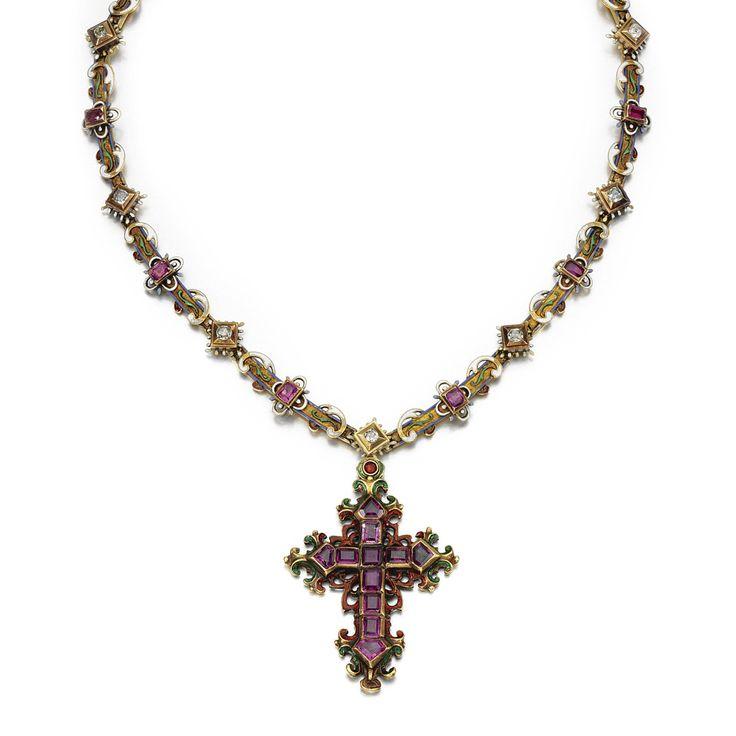 GOLD, RUBY, ENAMEL AND DIAMOND RENAISSANCE REVIVAL NECKLACE, <P>1880s</P> | Lot | Sotheby's