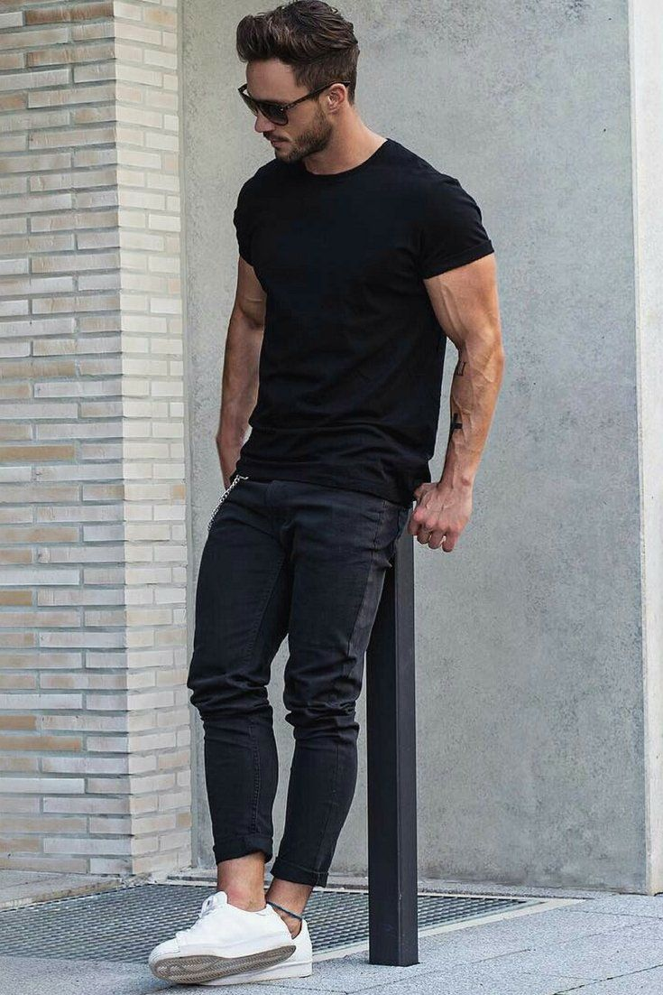 7c22c4818c0d Casual White Sneakers stand our for me here. Love wearing all black  outfits  Then you are going to love these amazing all black outfit ideas   mensfashion ...