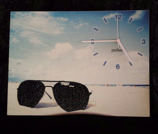 Canvas Board Beach Scene with Sunglasses