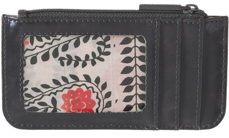 Shiraleah Credit Card Holder Wallet (Graphite). Front slide in full view for I.D. 5 additional pockets for credit cards. Central zippered compartment. Measures 5.5 x 3 x .5 inches. Eco friendly vegan leather.