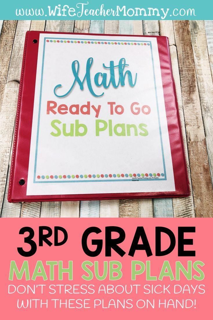 3rd Grade Departmentalized Sub Plans - Math - Wife Teacher Mommy   4th grade  math [ 1102 x 735 Pixel ]