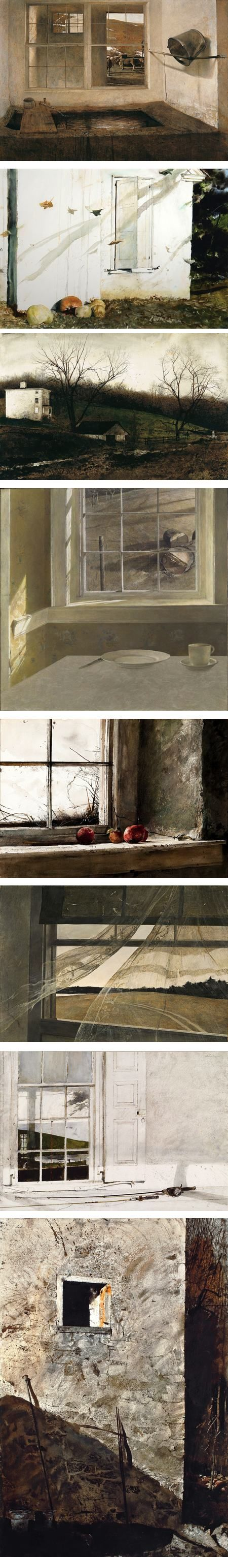 I love the neutral tones he uses...come to think of it, I bet I've borrowed from him compositionally (color, shape, content/subject matter) for my photography Andrew Wyeth's windows