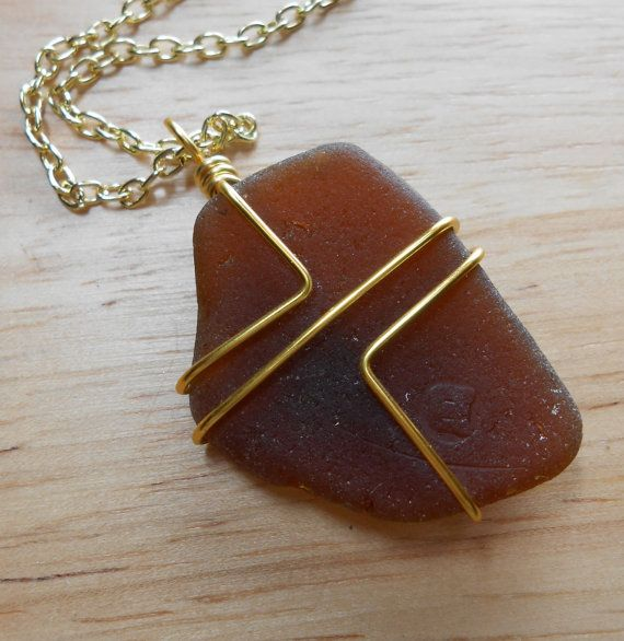 Beach Glass Jewelry Wire Wrapped Sea Glass by SeaFindDesigns, $20.00