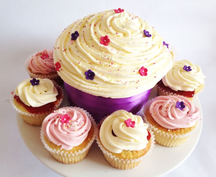 Giant Cupcake with Flowers