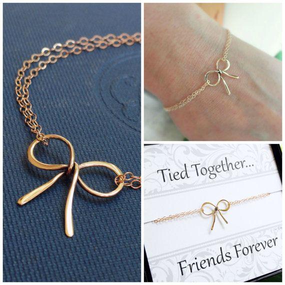 friendship bracelet, Gold bow bracelet, best friend gifts, bow charm bracelet, sister
