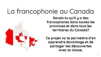 Ce document va permettre à l'élève de réaliser un projet de recherche sur la francophonie au Canada. Ses idées seront notées sur la fiche d'informations afin de pouvoir partager ses découvertes avec la classe. Des liens pour chaque province et territoire sont inclus ainsi que des stratégies utiles pour