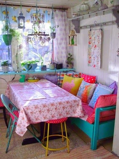 Shabby chic Kitchen. Benches are a great idea in a small space and can create…