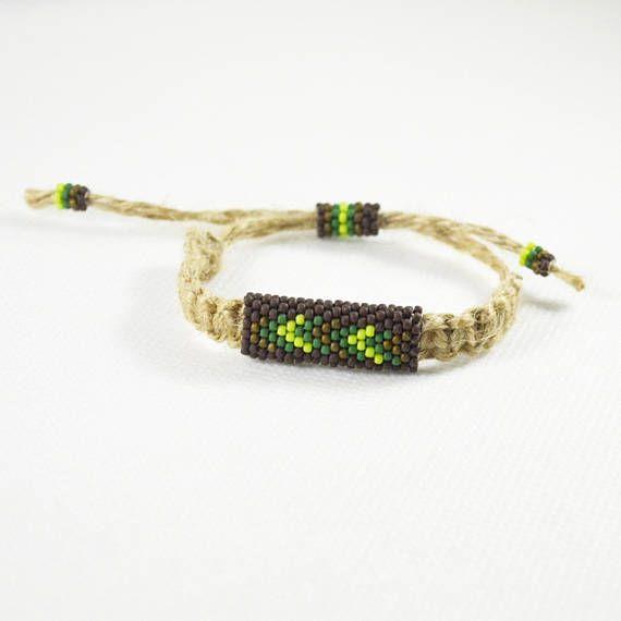 Natural Linen men bracelet Ethnic bracelets Brown green oliv