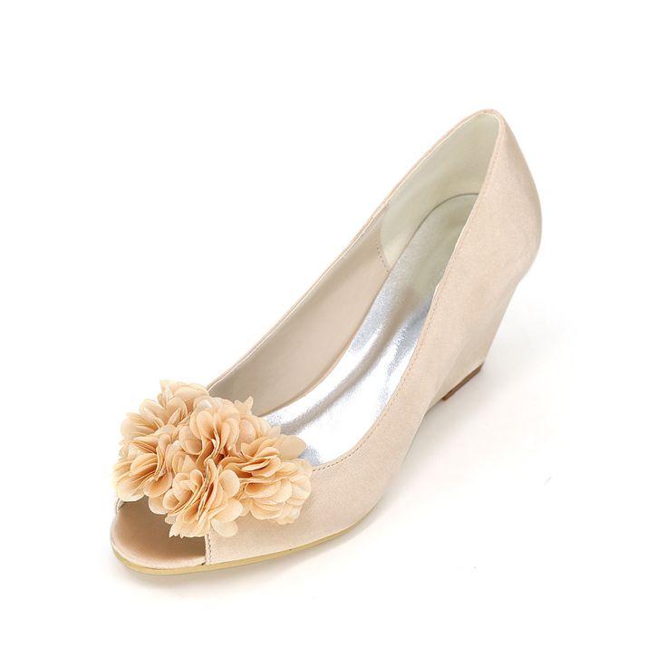 Элегантные свадебные клинья средний каблук атласные туфли с лепесток открытым носком вечерние туфли королевский синий шампанское фиолетовый(China (Mainland))