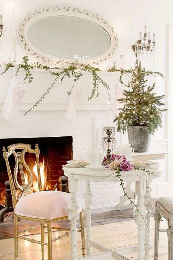 Shabby Chic Fireplace Decor                                                                                                                                                                                 More