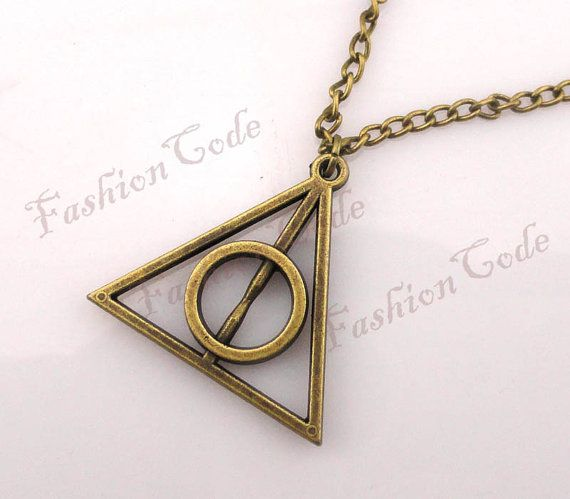 Deathly Hallows NecklaceHarry potter  by TheGiftoftheMagi on Etsy, $2.59