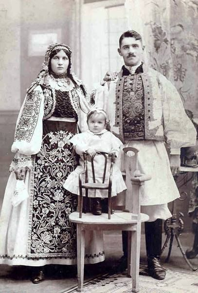 19th Century Banat region Romanians wearing regional rural prestige clothing (trachten)