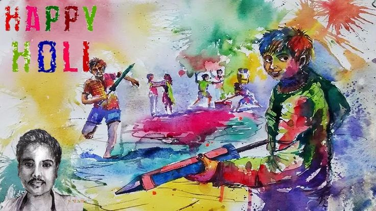Happy Holi Festival Drawing | Holi Scene Draw with watercolor Painting