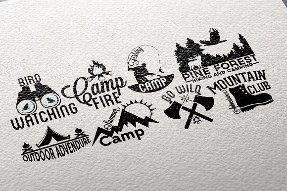 Retro Camping Labels by Arys Design on @creativemarket