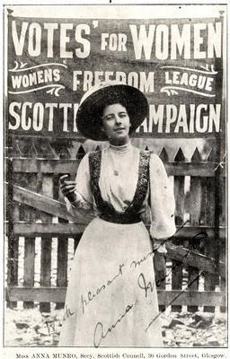 Anna Munro was a Scottish suffragette who was a founder of the Women's Freedom League. In 1912 she walked from Edinburgh to London to protest because women were not allowed to vote for Members of Parliament (they could only participate in certain local elections).