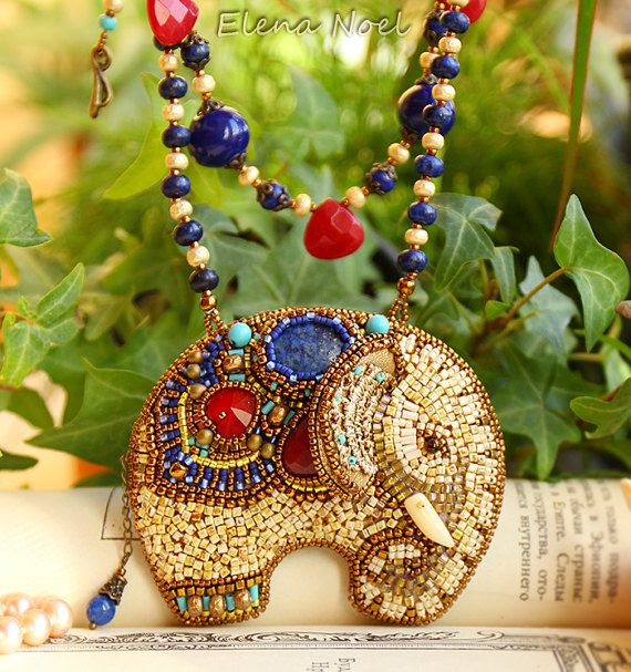 Necklace Bead Embroidery Art.  Embroidered elephant with deep blue lapis, ruby, ceramic beads, Japanese seed beads.  100% handmade