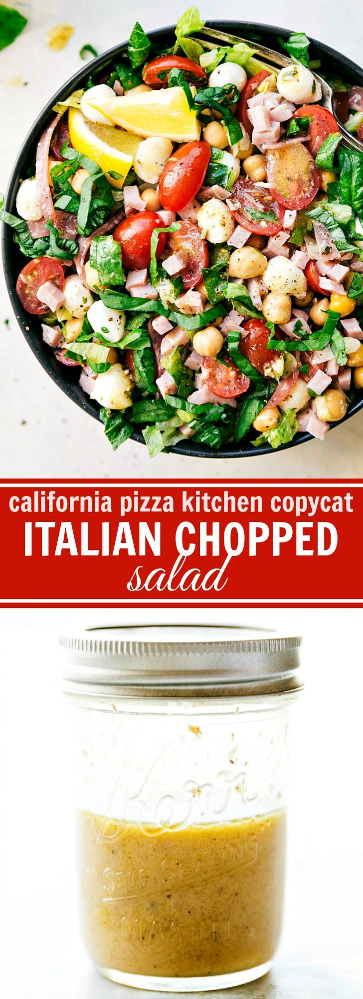 ITALIAN CHOPPED SALAD -- California Pizza Kitchen Copycat with the best lemon dijon herb dressing. So many great flavors and simple to make!