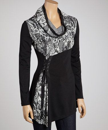 Take a look at this Black & White Jungle Cowl Neck Tunic by Fantazia on #zulily today!