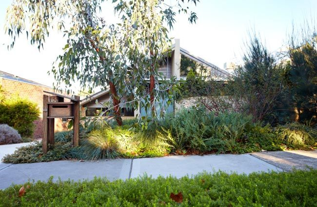 he front area has been transformed into a dry rock landscape, creating ideal conditions for various water efficient Australian native plants.