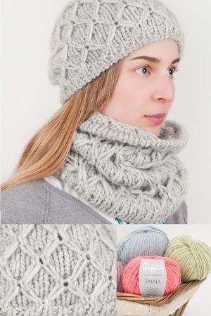 Le spiegazioni in Italiano per fare un completo cappellino e scaldacollo in lana, ai ferri, con punto fantasia.