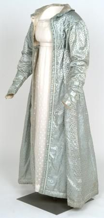 Silk pelisse or coat with a delicate leaf motif, worn at a wedding in 1824. Glasgow museums.
