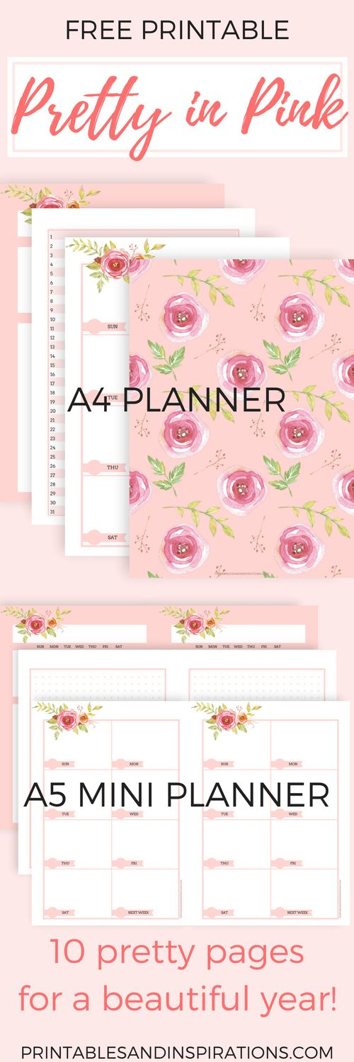 free printable pink planner pages, monthly planner, weekly planner, pink calendar, bullet journal, mini planner
