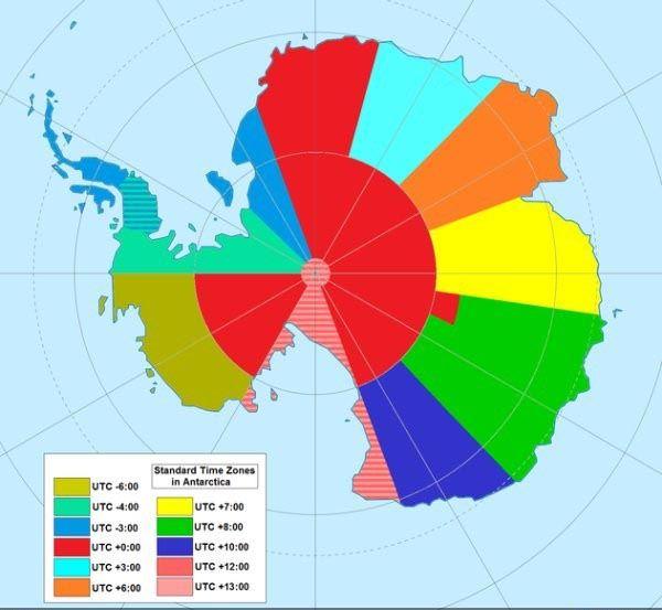 Standard time zones in Antarctica