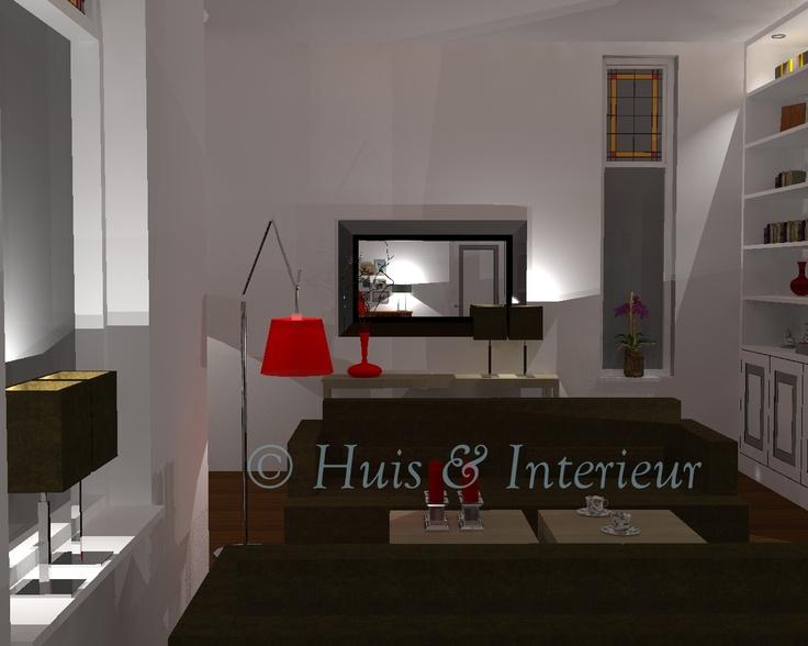 Woonkamer - zicht bij binnenkomst (in de spiegel zie je de kamerdeur met het schrijfhoekje ernaast)