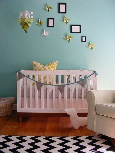 Love the gray and aqua. Now picture coral instead of green and I think this would be an awesome start to a a girls' room.: Nurseries, Wall Color, Pinwheels, Nursery Ideas, Baby Rooms, Kids Rooms