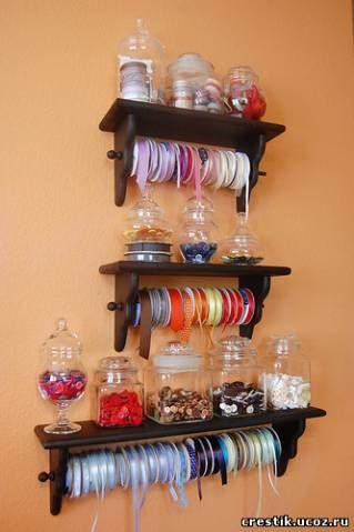 Хранение атласных лент для вышивания
