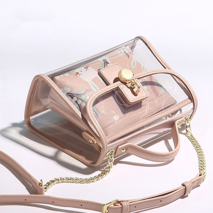 Pink Clear Bags Summer Crossbody Bags with Rabbits…