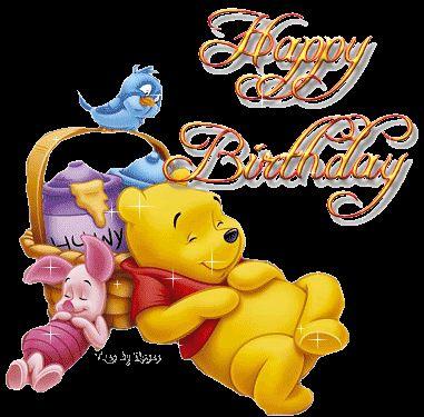 Winnie the Pooh birthday disney glitter animated gif pooh birthday happy birthday happy birthday wishes