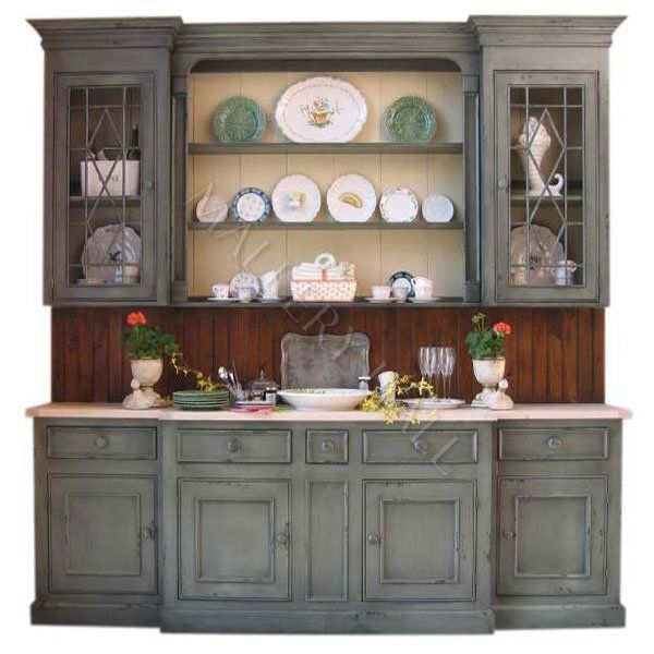 Hand Painted Crackled Hutch Sideboard Country Custom China Cabinet Display Ebay By Saxton Gray